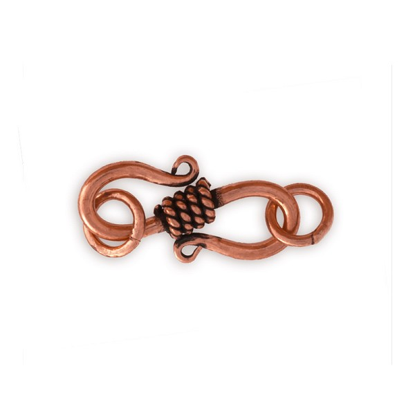 Copper S-Clasp with Twisted Wire Center Wrap 22x9mm with Jump Rings (1-Pc)