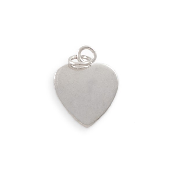 Bali Style Heart Charm Blank with 9mm Jump Ring Bail 16mm Sterling Silver (1-Pc)
