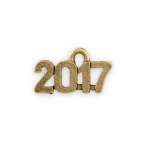 2017 Charm 15x9mm Antique Gold Plated Pewter (1-Pc)
