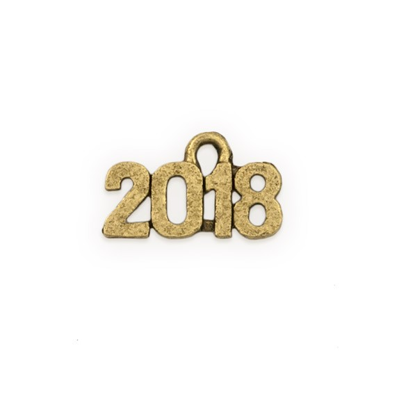 2018 Charm 15x9mm Antique Gold Plated Pewter (1-Pc)