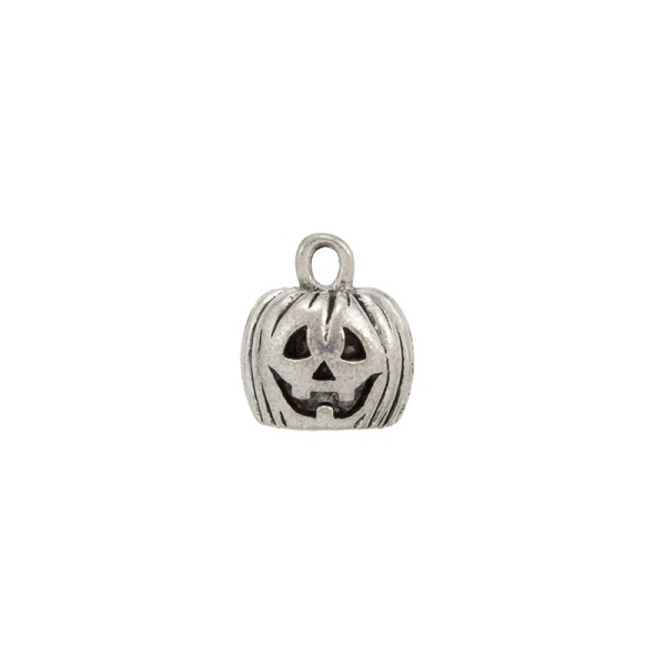 Pumpkin Charm 9x11.5mm Pewter Antique Silver Plated (1-Pc)