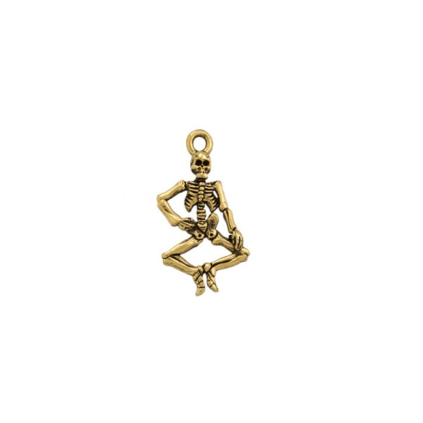 Skeleton Charm 21x15mm Pewter Antique Gold Plated (1-Pc)