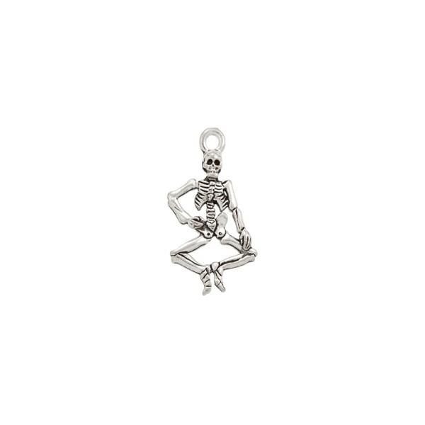 Skeleton Charm 21x15mm Pewter Antique Silver Plated (1-Pc)