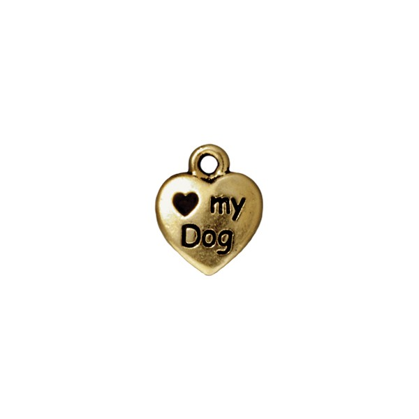 TierraCast Love My Dog Charm 10mm Pewter Antique Gold Plated (1-Pc)