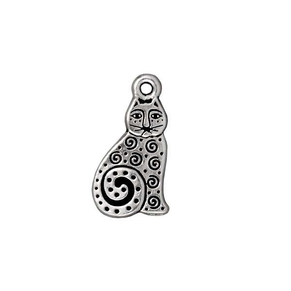TierraCast Spiral Cat Charm 16x10mm Pewter Antique Silver Plated (1-Pc)