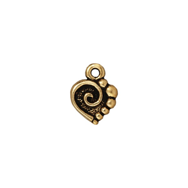TierraCast Spiral Heart Charm 10x13mm Pewter Antique Gold Plated (1-Pc)