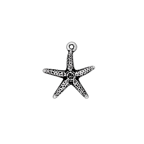 TierraCast Sea Star Charm 19x20mm Pewter Antique Silver Plated (1-Pc)