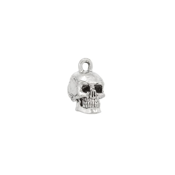 Skull Charm 15x11mm Pewter Antique Silver Plated (1-Pc)