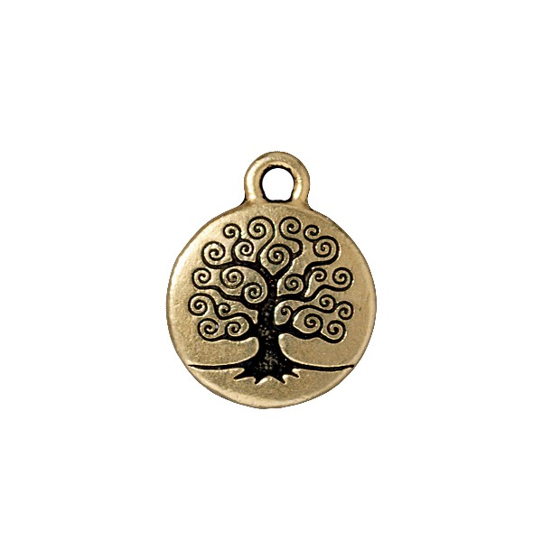 TierraCast Tree of Life Charm 16mm Pewter Antique Gold Plated (1-Pc)