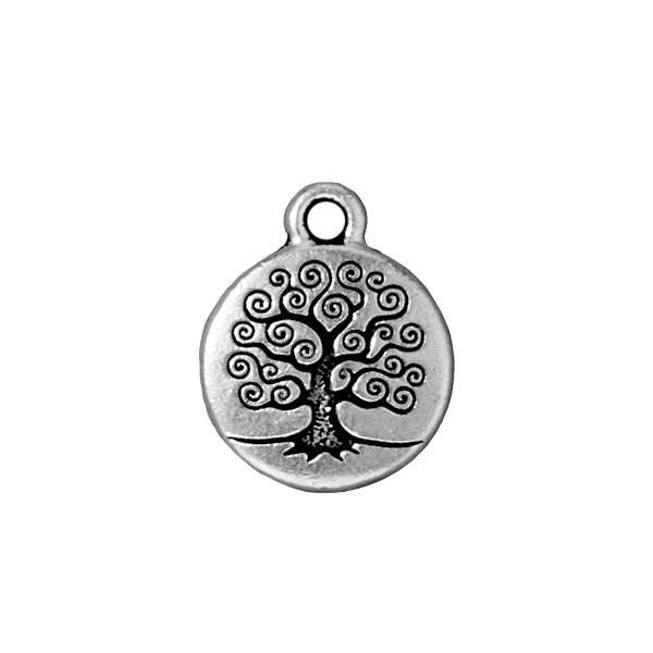 TierraCast Tree of Life Charm 16x19mm Pewter Antique Silver Plated (1-Pc)