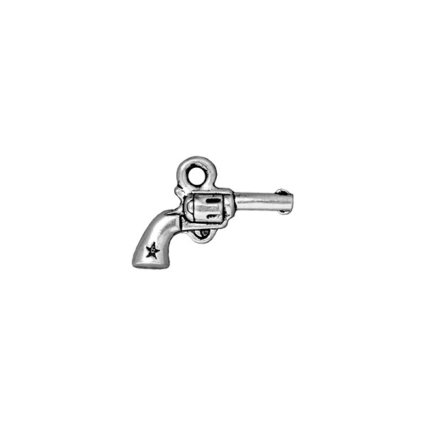 TierraCast Six Shooter Charm 20x14mm Pewter Antique Silver Plated (1-Pc)
