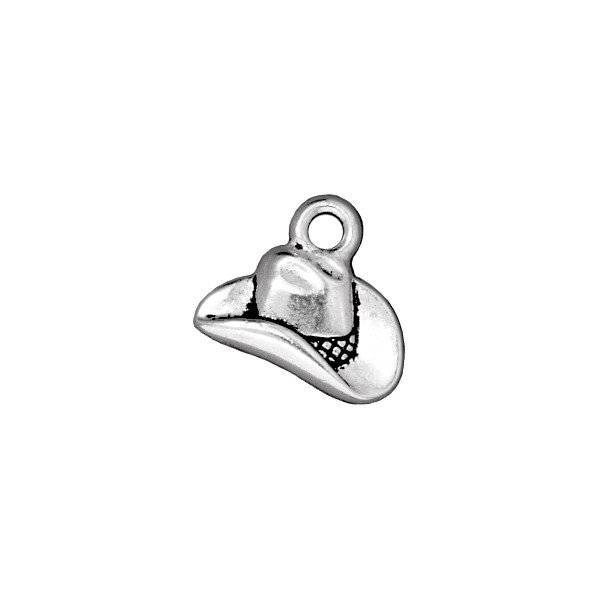 TierraCast Cowboy Hat Charm 14x16mm Pewter Antique Silver Plated (1-Pc)