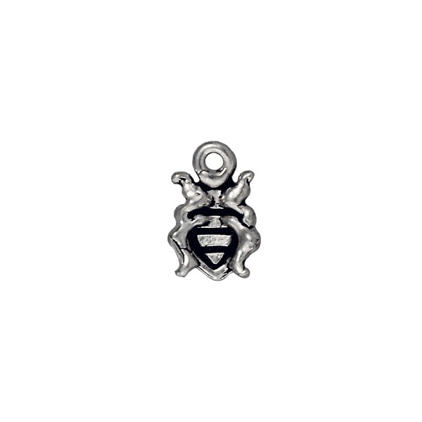 TierraCast Charm - Ladybug 8x13mm Pewter Antique Silver Plated (1-Pc)