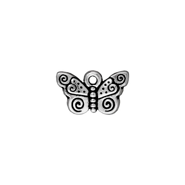 TierraCast Charm - Spiral Butterfly 10x15mm Pewter Antique Silver Plated (1-Pc)