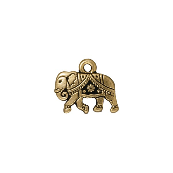 TierraCast Gita the Elephant Charm 12x15mm Pewter Antique Gold Plated (1-Pc)