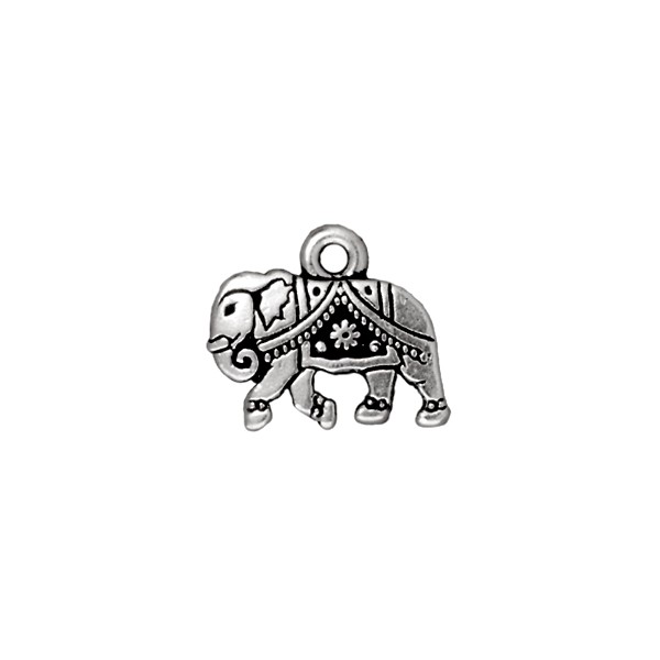 TierraCast Charm - Gita the Elephant 12x15mm Pewter Antique Silver Plated (1-Pc)