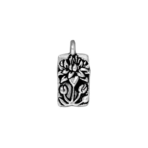 TierraCast Floating Lotus Charm 9x17mm Pewter Antique Silver Plated (1-Pc)