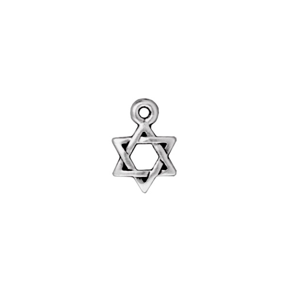 TierraCast Star of David Charm 9x13mm Pewter Antique Silver Plated (1-Pc)