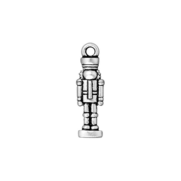 TierraCast Nutcracker Charm 27x8mm Pewter Antique Silver Plated (1-Pc)