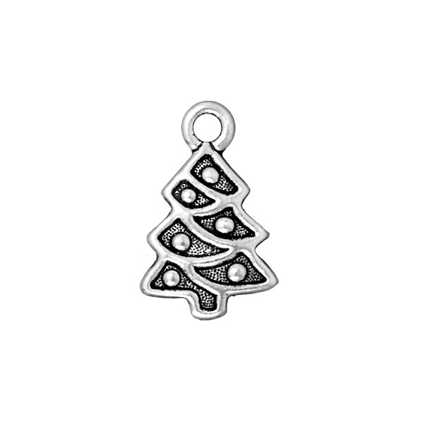 TierraCast Christmas Tree Charm 20x12mm Pewter Antique Silver Plated (1-Pc)