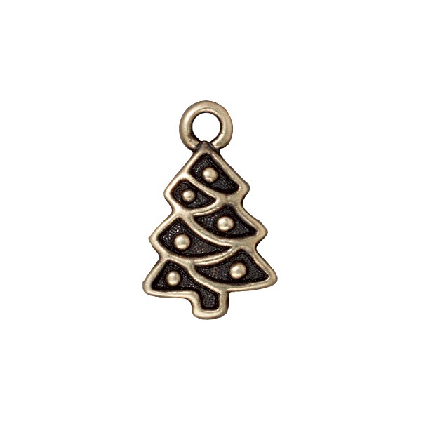 TierraCast Charm - Christmas Tree 20x12mm Pewter Antique Brass Plated (1-Pc)
