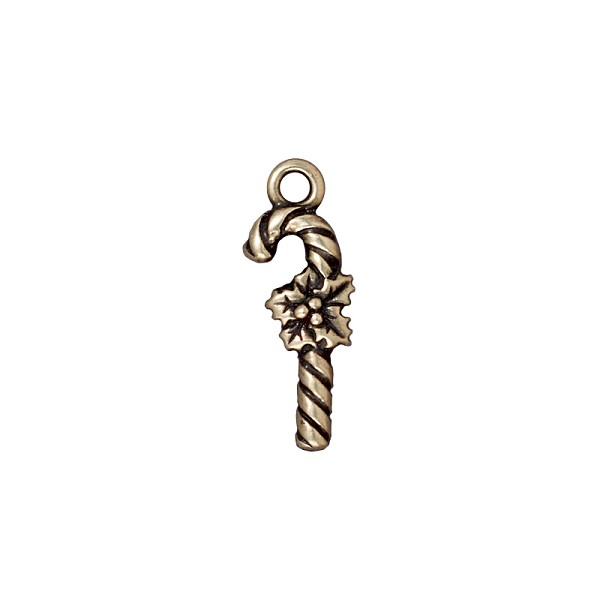 TierraCast Charm - Candy Cane 25x8mm Pewter Antique Brass Plated (1-Pc)