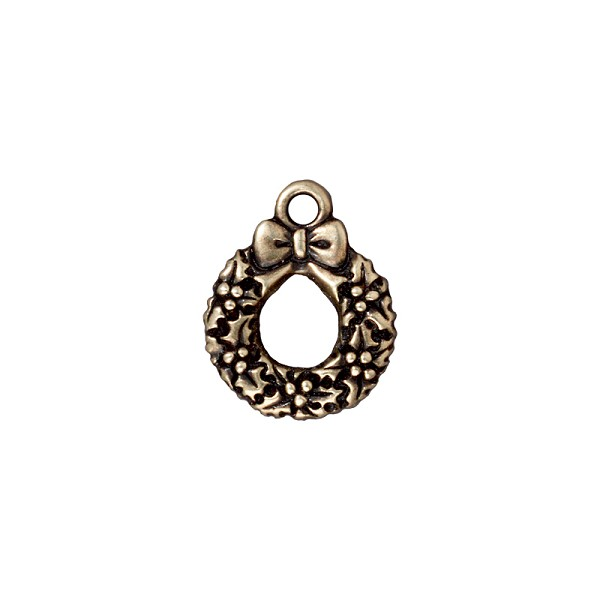 TierraCast Charm - Wreath 20x12mm Pewter Antique Brass Plated (1-Pc)