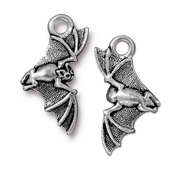 TierraCast Bat Charm 23x11mm Pewter Antique Silver Plated (1-Pc)