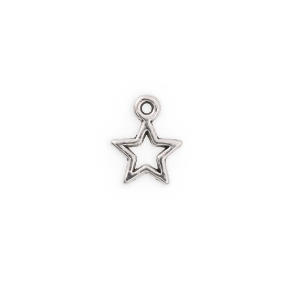 Open Star Charm 13x10mm Pewter Antique Silver Plated (10-Pcs)