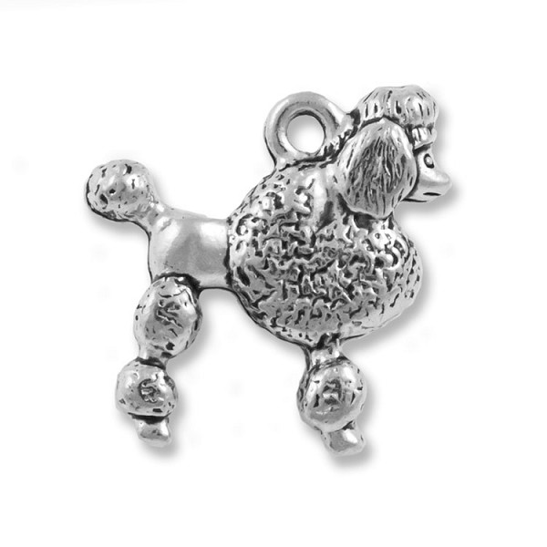 Poodle Charm 15mm Pewter Antique Silver Plated (1-Pc)