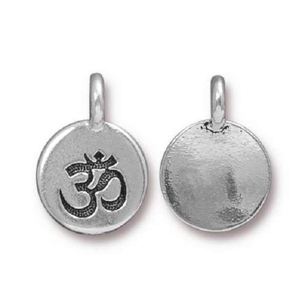TierraCast Om Charm 12x17mm Antique Silver Plated (1-Pc)