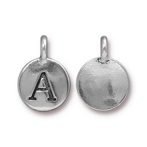 "TierraCast Alphabet Charm with Loop ""A"" 11.5mm Antique Pewter (1-Pc)"
