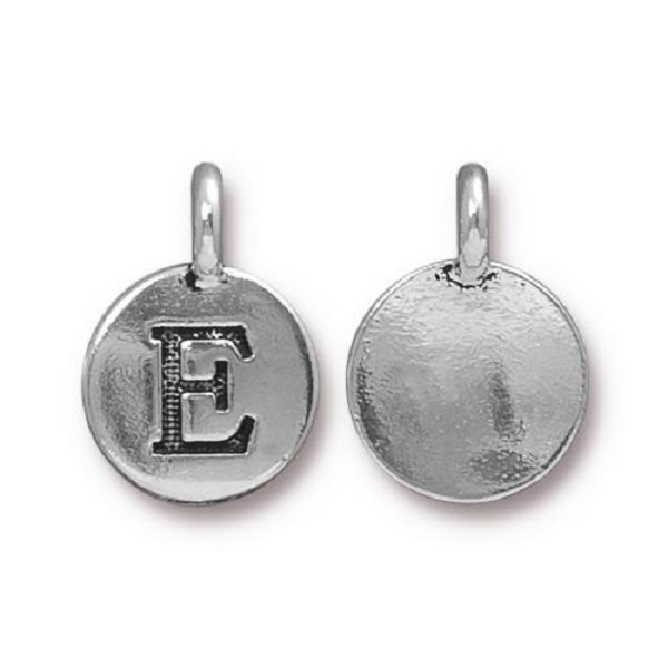 "TierraCast Alphabet Charm with Loop ""E"" 11.5mm Antique Pewter (1-Pc)"