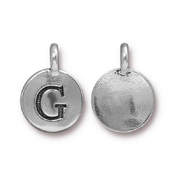 "TierraCast Alphabet Charm with Loop ""G"" 11.5mm Antique Pewter (1-Pc)"