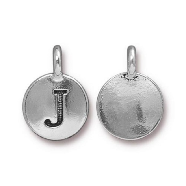 "TierraCast Alphabet Charm with Loop ""J"" 11.5mm Antique Pewter (1-Pc)"