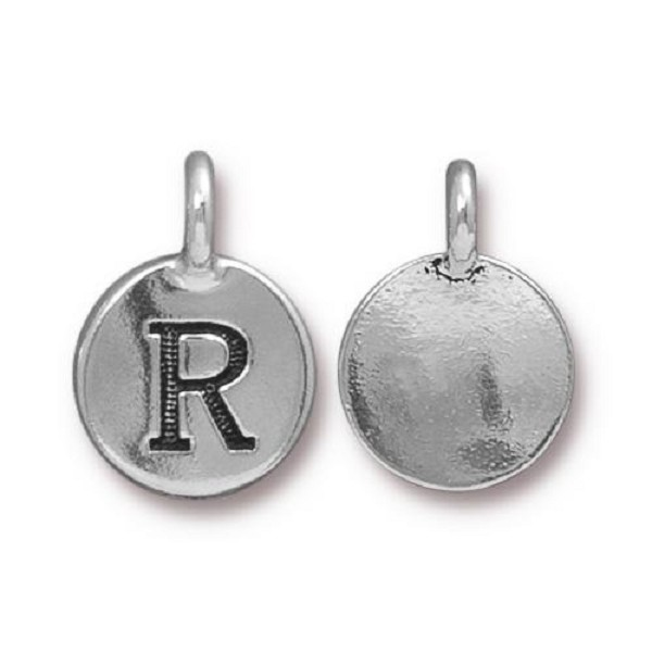 "TierraCast Alphabet Charm with Loop ""R"" 11.5mm Antique Pewter (1-Pc)"