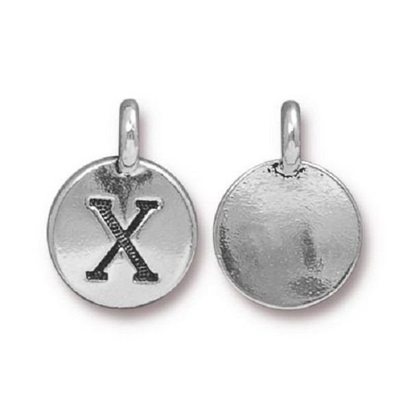 "TierraCast Alphabet Charm with Loop ""X"" 11.5mm Antique Pewter (1-Pc)"
