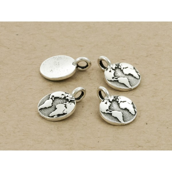TierraCast Earth Charm with Loop 11.6mm Antique Silver Plated (1-Pc)