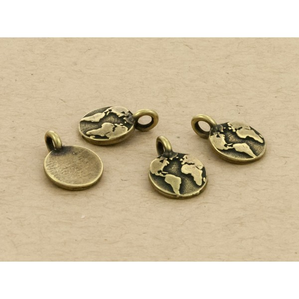 TierraCast Earth Charm with Loop 11.6mm Antique Brass Plated (1-Pc)