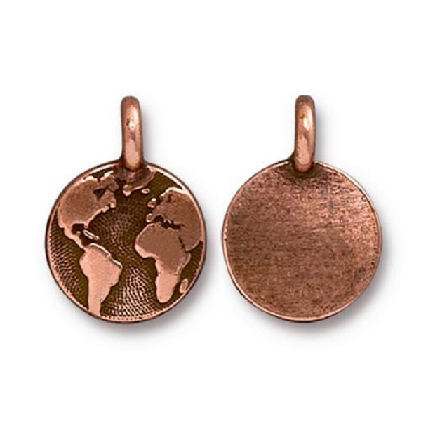 TierraCast Earth Charm 12x17mm Pewter Antique Copper Plated (1-Pc)