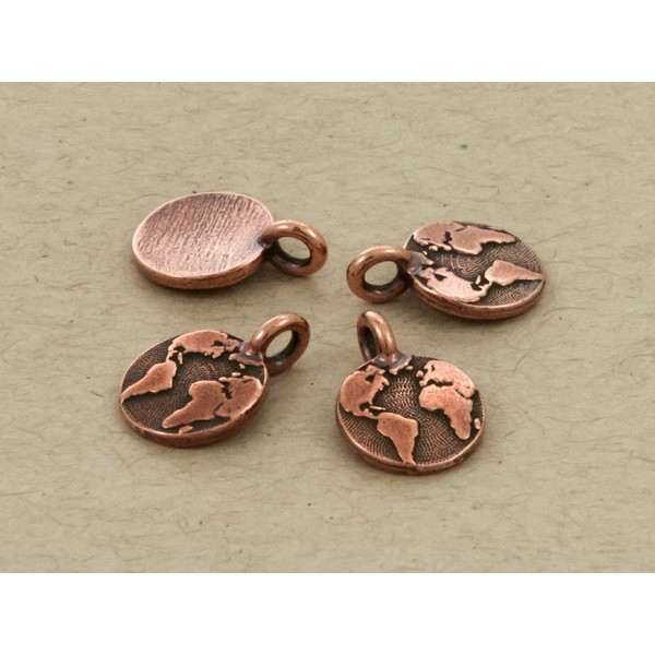 Tierracast Earth Charm With Loop 11 6mm Antique Copper Plated