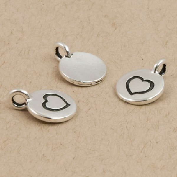 TierraCast Heart Charm with Loop 11.6mm Antique Silver Plated (1-Pc)