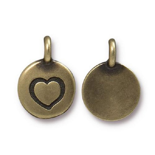 TierraCast Heart Charm with Loop 11.6mm Antique Brass Plated (1-Pc)