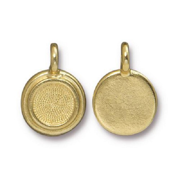 TierraCast Stepped Bezel Charm 11.6mm Bright Gold (1-Pc)