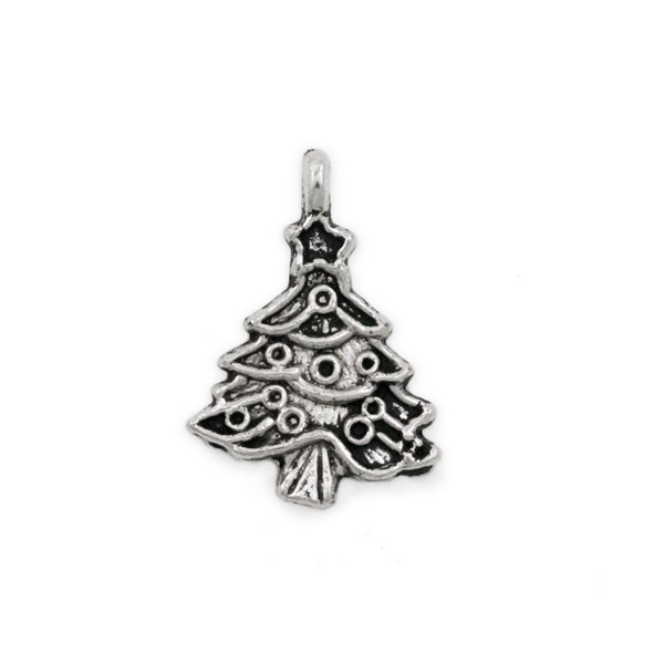 Christmas Tree Pewter Charm 21x17mm (1-Pc)