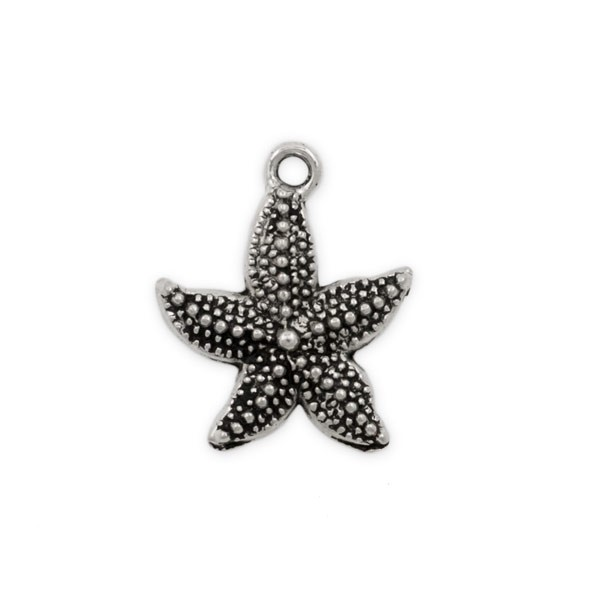 Star Fish Charm 22x20mm Pewter Antique Silver Plated (1-Pc)