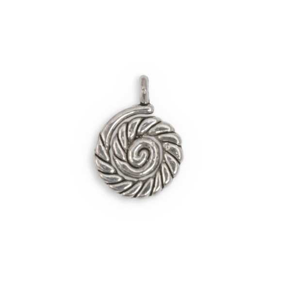 Nautilus Charm 16mm Pewter Antique Silver Plated (2-Pcs)
