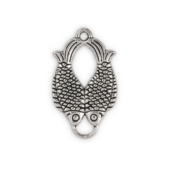 32x19mm Pewter Double Fish Charm (1-Pc)