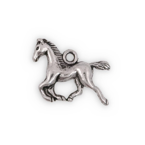 Running Horse Charm 15x18mm Pewter Antique Silver Plated (1-Pc)