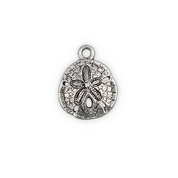TierraCast 21mm Antique Silver Plated Pewter Sand Dollar Charm (1-Pc)